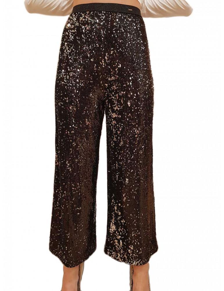 Pantalone a palazzo nero Gaudi con paillette 921fd250212001 GAUDI PANTALONI DONNA product_reduction_percent