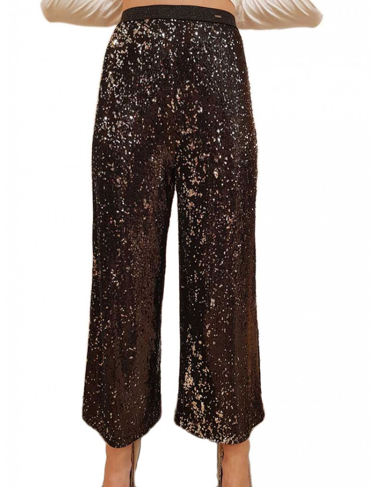 Pantalone a palazzo nero Gaudi con paillettes 921fd250212001 GAUDI PANTALONI DONNA product_reduction_percent