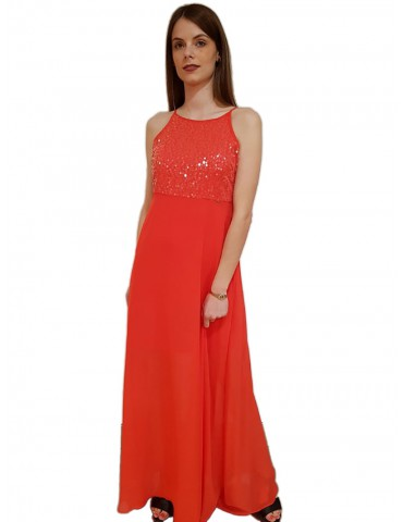 Gaudi long dress with coral pailletes