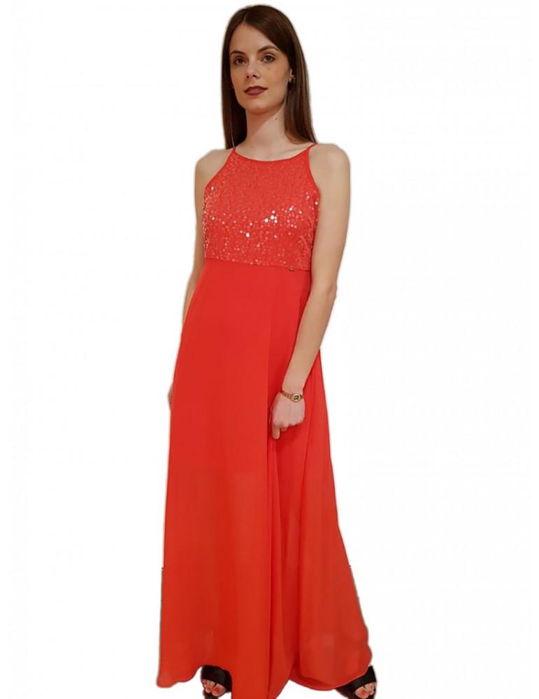 Gaudi vestito lungo con pailletes corallo 911fd150442466 GAUDI ABITI DONNA product_reduction_percent