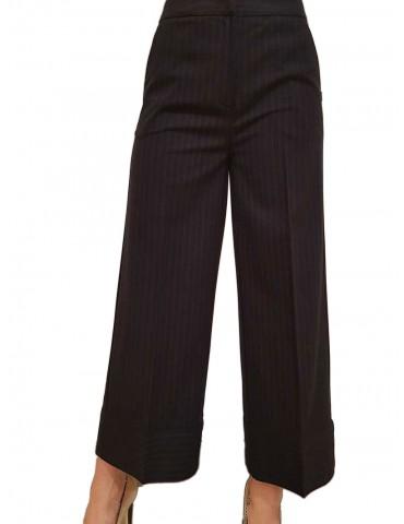 Gaudi pantalone crop nero gessato rosso