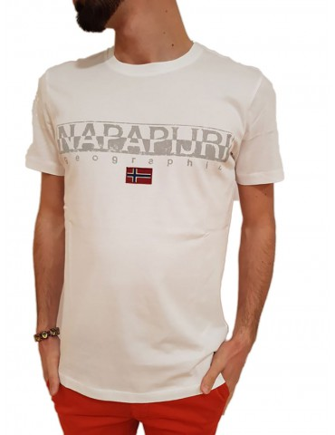 T shirt uomo bianca Napapijri Sapriol ss 1
