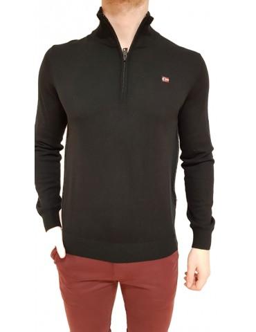 Napapijri maglia nera Damavand Half mezzo collo zip