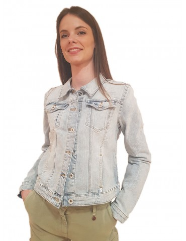 Fracomina denim jacket with pearl fringes
