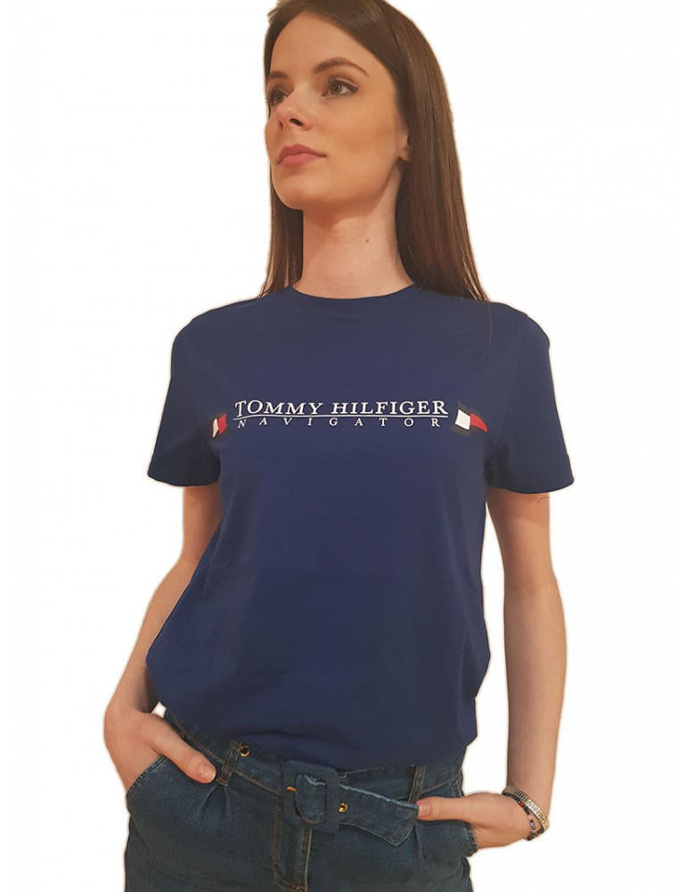 Tommy Hilfiger t shirt femminile blu in cotone biologico mw0mw13346c7hd TOMMY HILFIGER T SHIRT DONNA product_reduction_percent