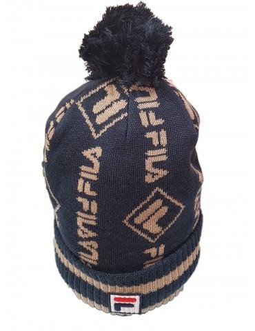 Cappello Fila Intarsia Beanie crema e blu 686116