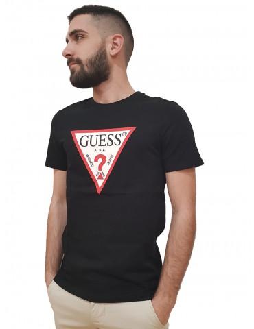 Guess t shirt uomo nera logo triangolo