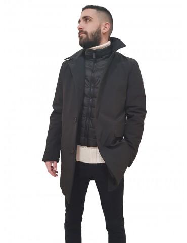 Trussardi car coat nero in neoprene