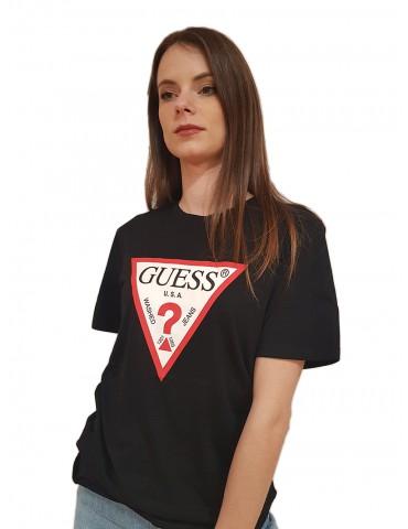 Guess t shirt donna nera logo triangolo
