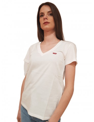 Levi's® t shirt bianca scollo a v The Perfect Tee