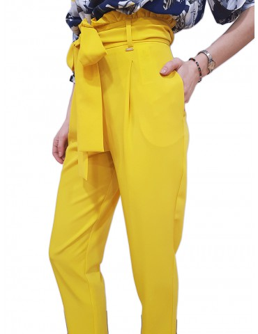 Fracomina pantalone vita alta carrot giallo