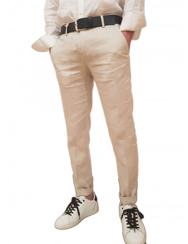 Roberto P Luxury pantalone lino skinny beige