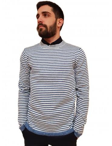 Trussardi pullover girocollo a righe blu e bianco in cotone