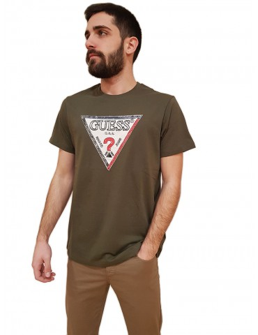 Guess t shirt uomo verde logo triangolo Triesley