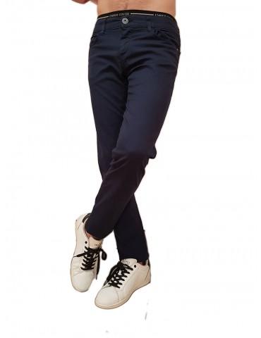 Trussardi pantalone 370 close blue cotone microfantasia rombi