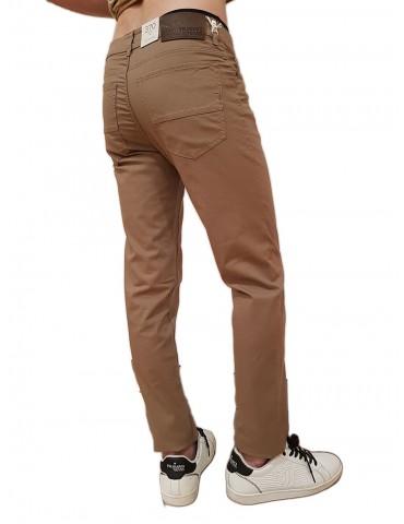 Trussardi pantalone 370 close marrone cotone microfantasia rombi