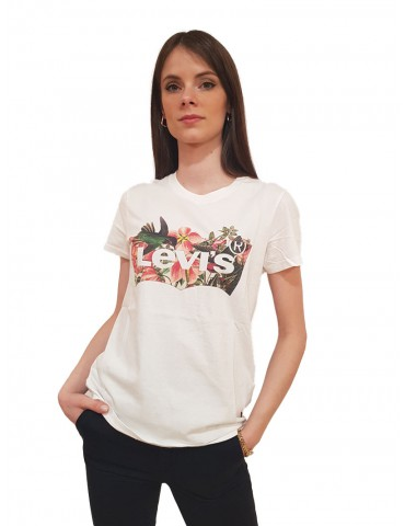 T shirt Levi's® bianca stampa floreale the perfect tee batwing