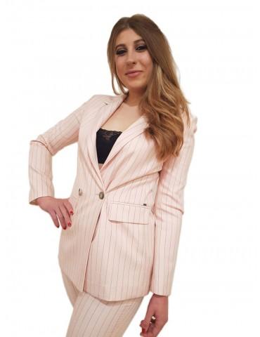 Gaudi blazer doppiopetto gessato rosa