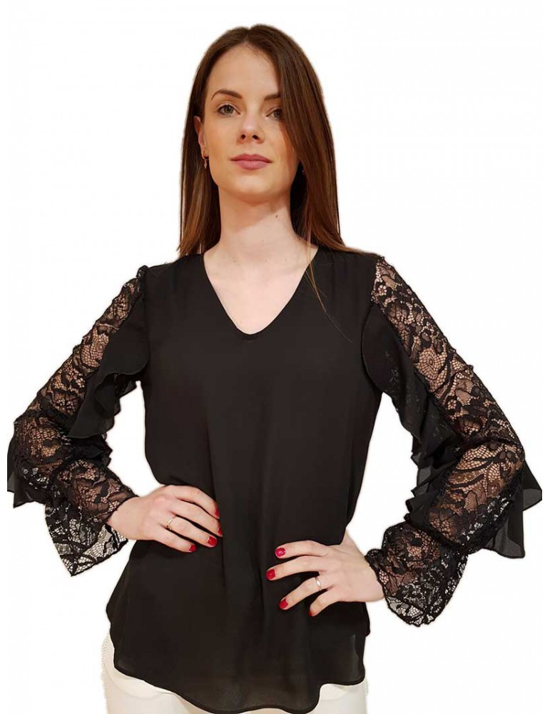 Fracomina blusa in pizzo nera fr19sp018053 FRACOMINA CAMICIE DONNA product_reduction_percent