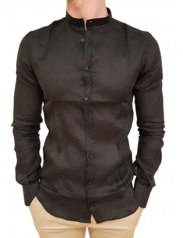 Roberto P Luxury camicia lino alla coreana nera cpc/1