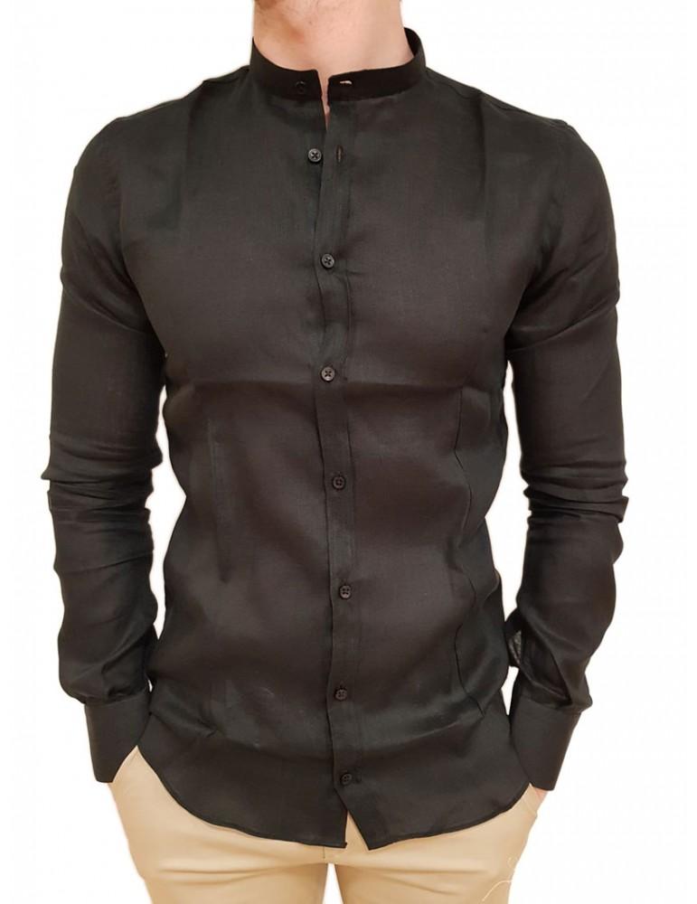 Roberto P Luxury camicia lino alla coreana nera cpc/1 ca-l4gobn ROBERTO P LUXURY CAMICIE UOMO product_reduction_percent