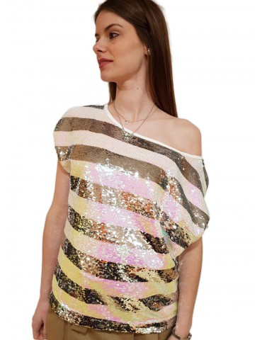Maglietta elegante a righe Gaudi con paillettes