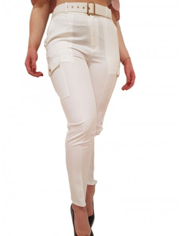Fracomina pantalone cargo slim bianco con tasconi
