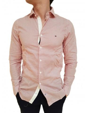 Tommy Hilfiger camicia slim fit rossa microfantasia