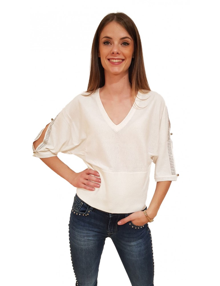 Maglia donna scollo a v Gaudi panna 821fd530062121 GAUDI MAGLIE DONNA product_reduction_percent