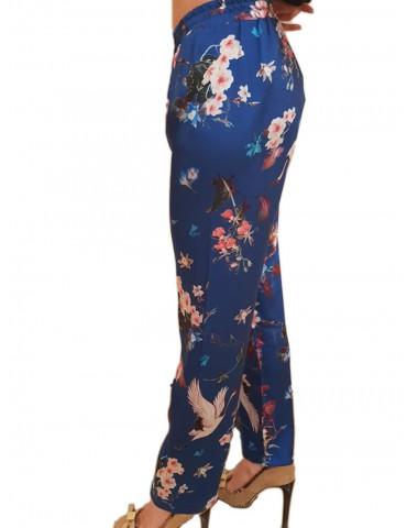 Pantalone Gaudì fantasia fiori blu