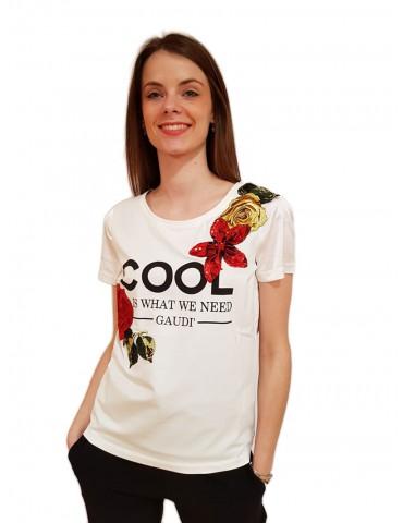 Gaudi t maglietta bianca con applicazioni