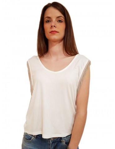 Gaudi t shirt bianca giromanica con frange