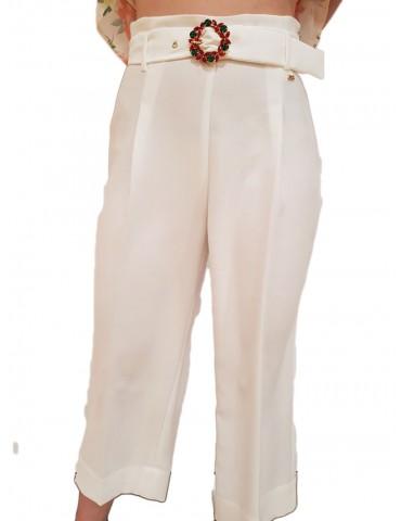 Gaudi pantalone palazzo bianco con cintura gioiello