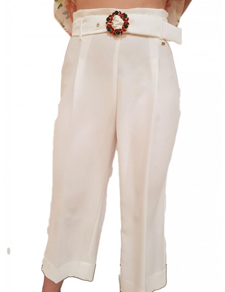 Gaudi pantalone palazzo bianco con cintura gioiello 911fd250042101 GAUDI PANTALONI DONNA product_reduction_percent