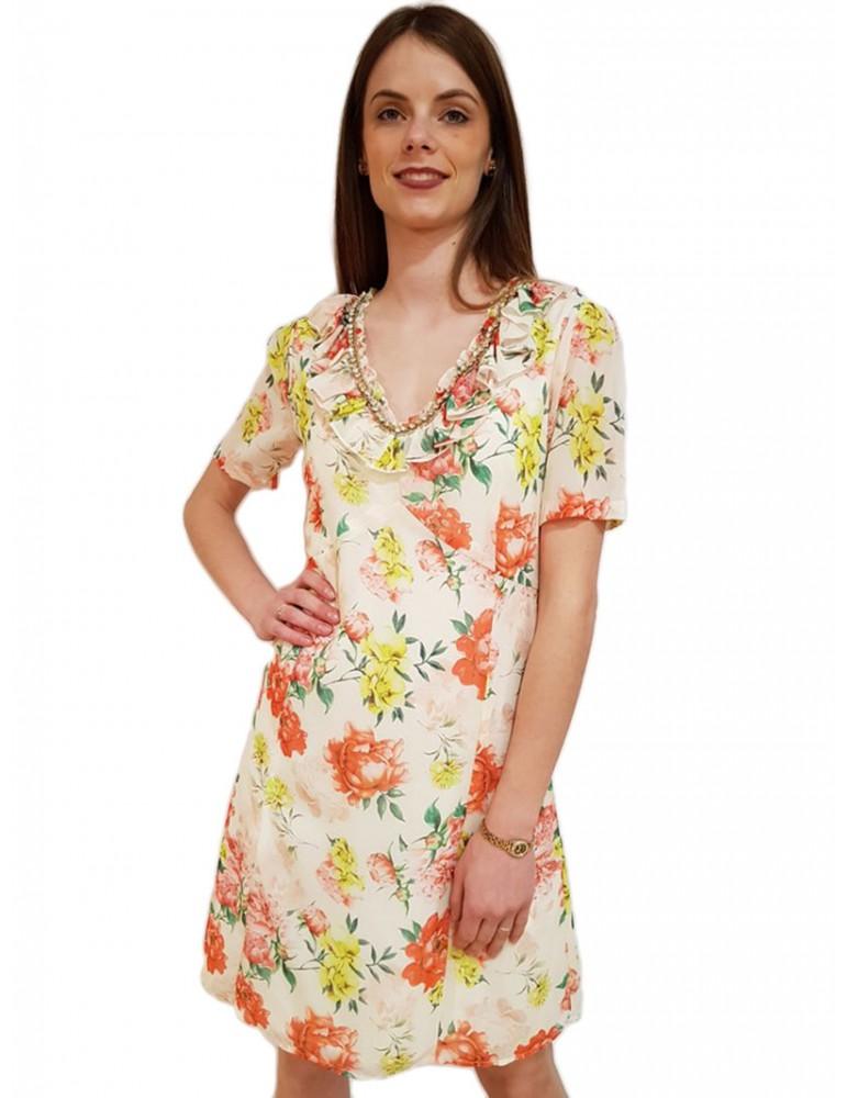 Gaudi abito stampa fiori e strass scollo a v 911fd15038911022-01 GAUDI ABITI DONNA product_reduction_percent