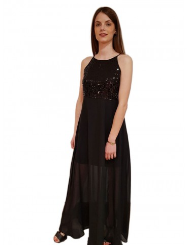 Gaudi abito lungo con pailletes nero