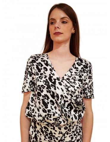 Gaudi t shirt stampa animalier bianca e nera