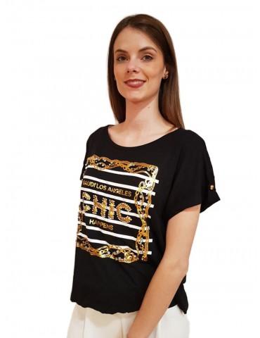 Gaudi t shirt nera stampa oro con strass