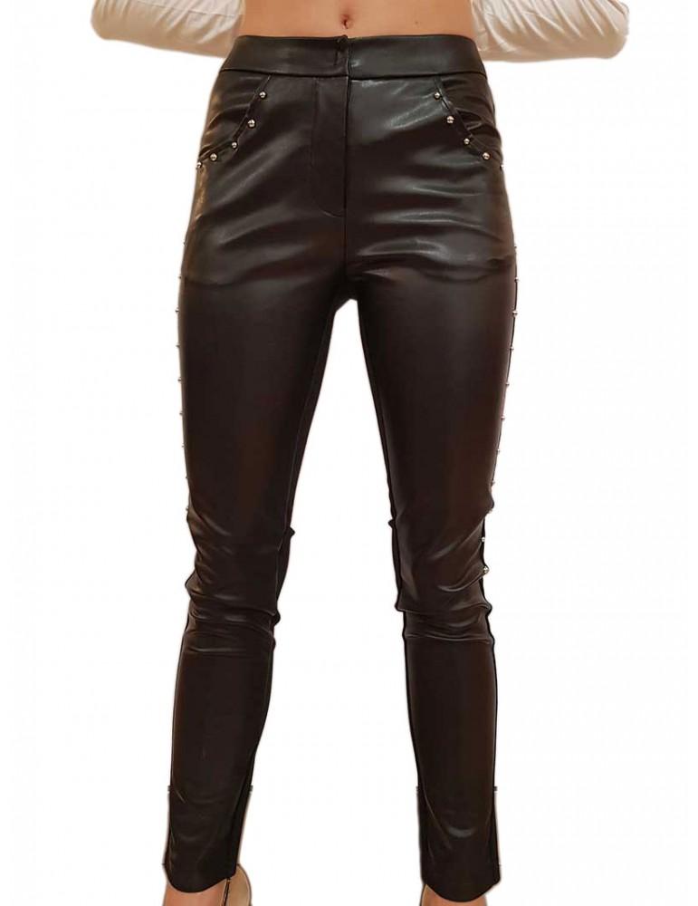Gaudi pantalone nero con borchie ecopelle e tessuto 921fd250062001 GAUDI PANTALONI DONNA product_reduction_percent
