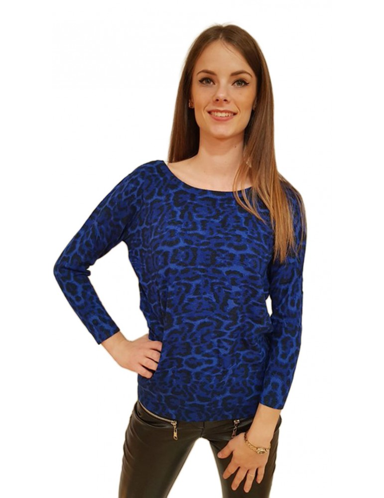 Gaudi maglia blu stampa animalier 821fd53019825074-02 GAUDI MAGLIE DONNA product_reduction_percent