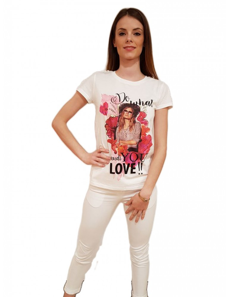 Gaudì t shirt bianca mezza manica 811fd640162121 GAUDI T SHIRT DONNA product_reduction_percent