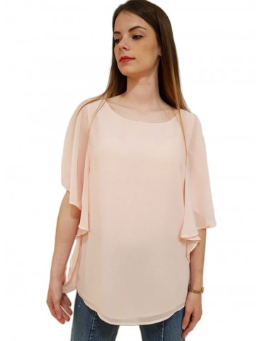 Gaudì blusa in georgette collo a barca rosa