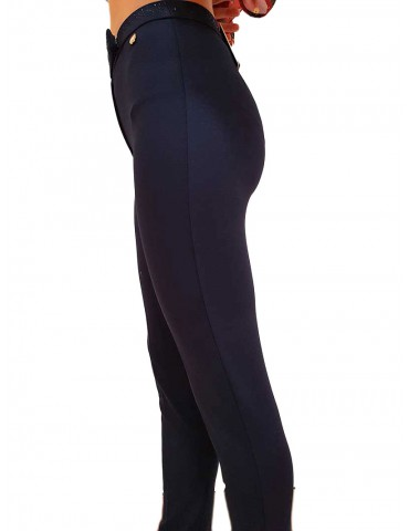 Fracomina pantalone blu cinta strass
