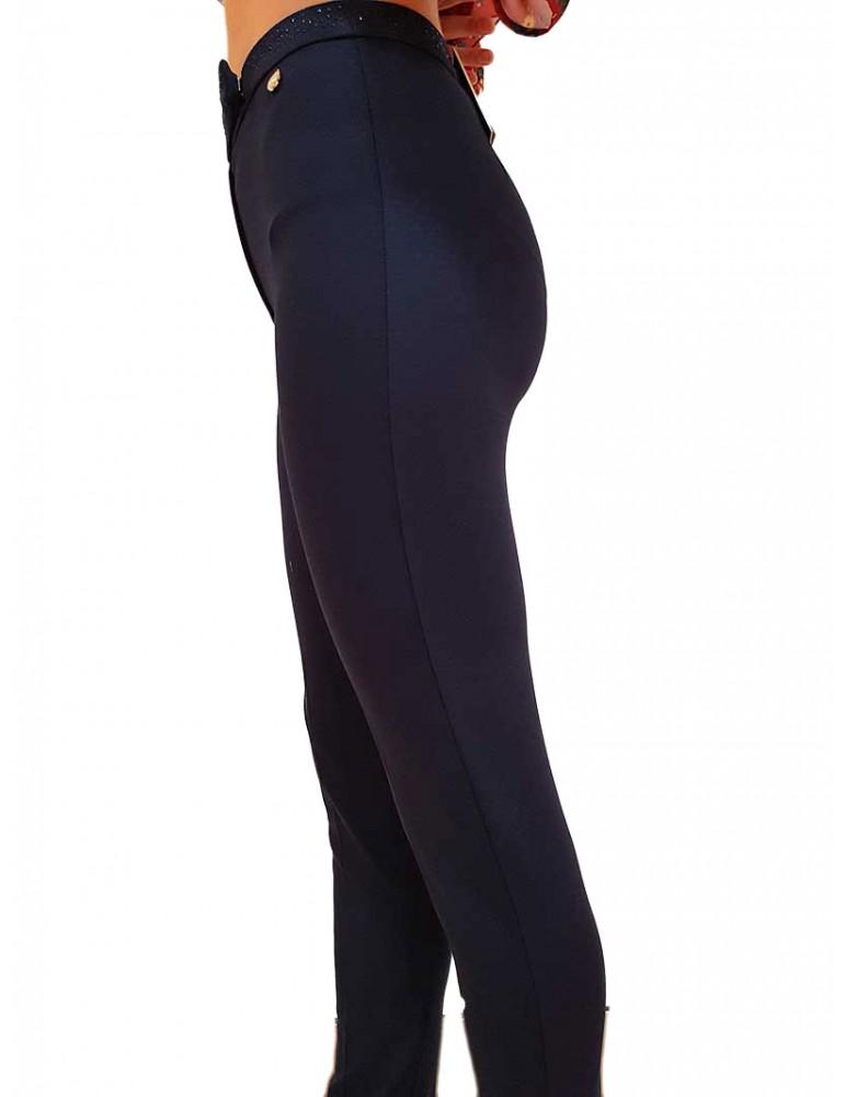 Fracomina pantalone blu cinta strass fr19fm018069 FRACOMINA PANTALONI DONNA product_reduction_percent
