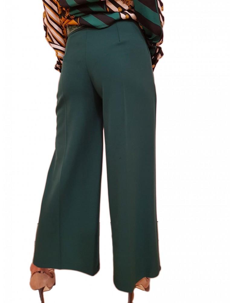 Fracomina pantalone donna palazzo verde bottiglia fr18fm025e13 FRACOMINA PANTALONI DONNA product_reduction_percent