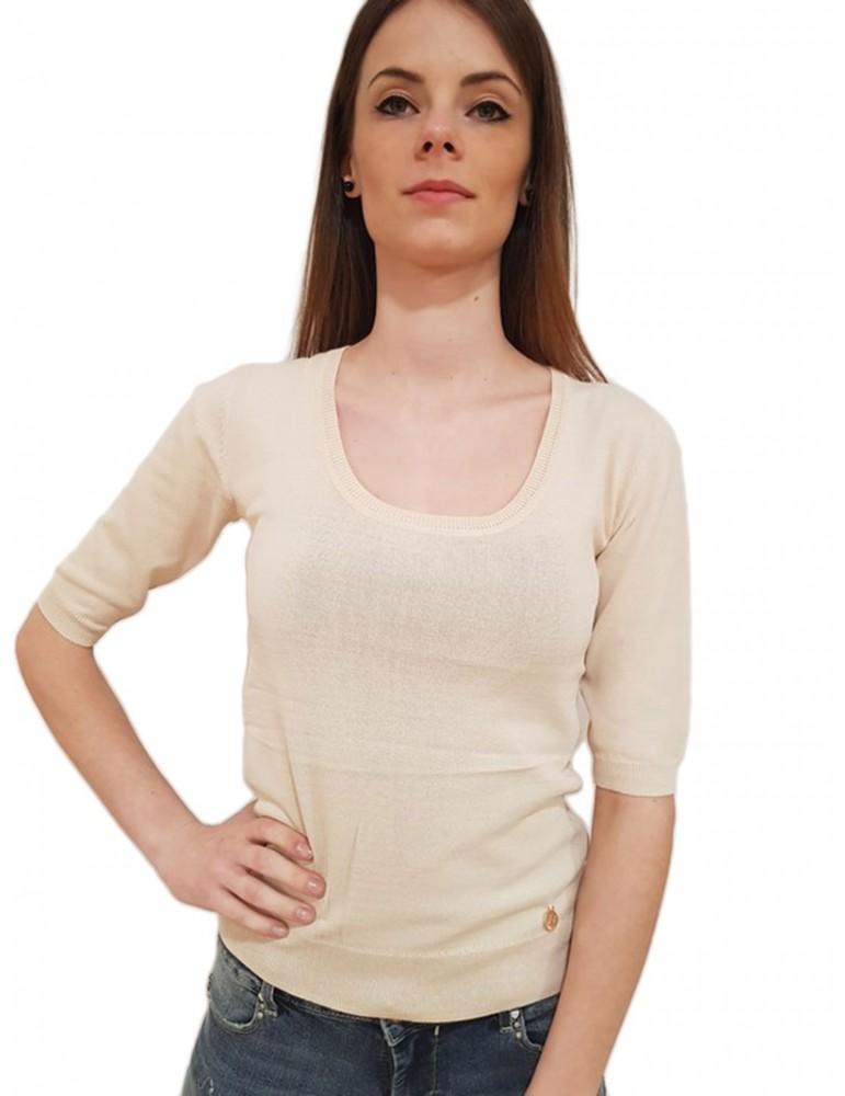 Fracomina maglia scollo madonna beige fr18sp807887 FRACOMINA MAGLIE DONNA product_reduction_percent