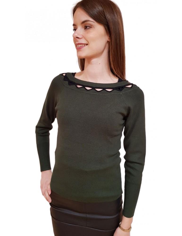 Fracomina maglia verde collo con intaglio fr18fp8113b39 FRACOMINA MAGLIE DONNA product_reduction_percent