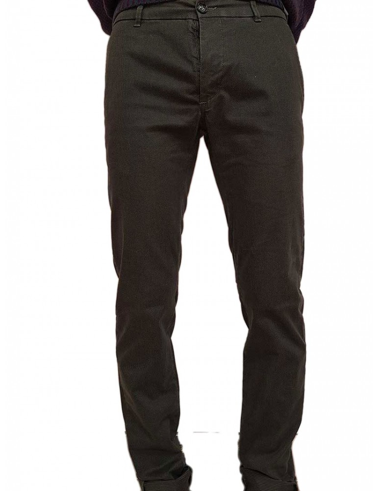 Pantalone Trussardi seventies verde in gambardina stretch