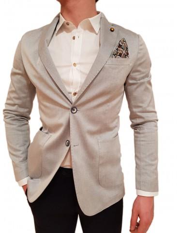 Roberto P Luxury giacca uomo grigio chiaro monopetto