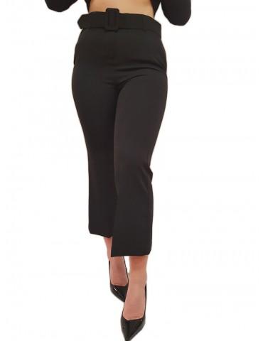 Fracomina pantalone nero bootcut con cintura